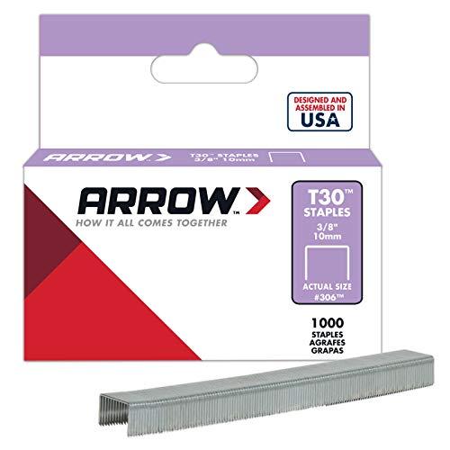 Arrow Fastener 306 Genuine 3/8-Inch Thin Wire Staples for T30 staple gun, HT 30 hammer tacker, 1,000-Pack ()