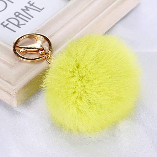 Hot Fur Ball Keychain Pompom Key Chainss car Pendant Key Chain Birthday Gift for Women Jewelry,Lemon Yellow