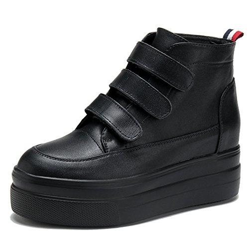 Sneakers Alte Tacco Alto Sneakers Nascoste Con Zeppa Antiscivolo In Pelle Nera Con Zeppa