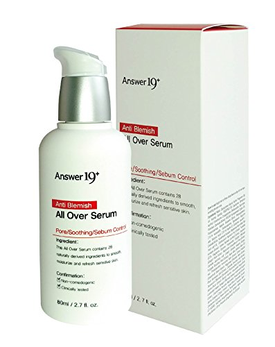 [ANSWER NINETEEN+] Anti Blemish All Over Serum – Minimize Skin Irritation with Ecocert Certified Ingredients, Pore Care, Peeling, Sebum Control, Skin Brightening, Anti-Wrinkle, 80ml / 2.8 fl. Oz (Control Serum Sebum)