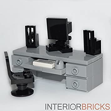 lego furniture computer desk gray custom set with chair monitor