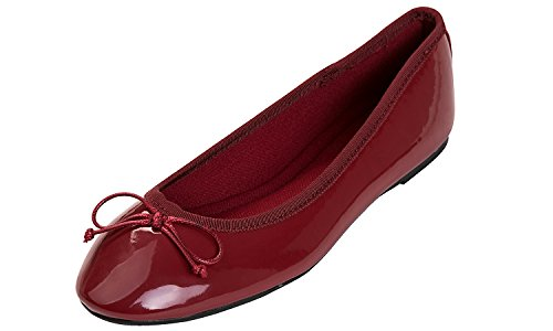 Feversole Women's Macaroon Colorful Memory Foam Cushion Insock Patent Ballet Flat Burgendy ()