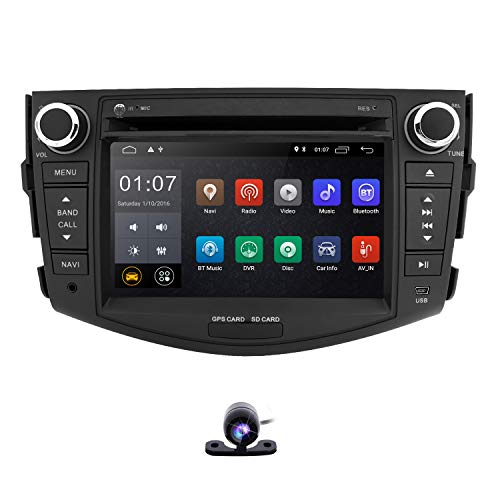 hizpo Android 9.0 Double Din Car Stereo Radio for Toyota RAV4 2006-2012 Support GPS Navigation 7 Inch Touch Screen WiFi Mirrorlink Steering Wheel Control DVD Player + Reversing Camera