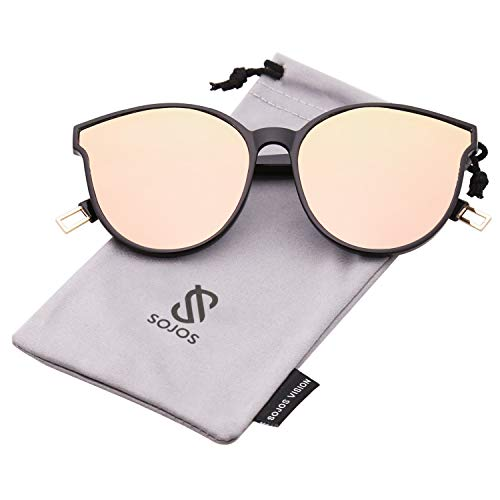 SOJOS Fashion Round Sunglasses for Women Men Oversized Vintage Shades SJ2057 with Black Frame/Pink Mirrored Lens