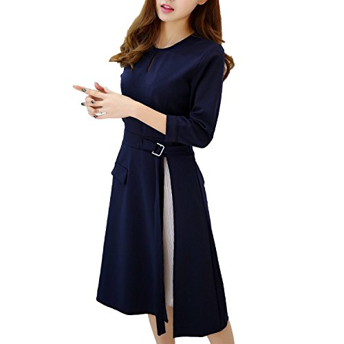 [オチビ] ビジネス キャリア きれいめ 紺 ワンピース 面接 入試 卒園式 結婚式 S ~ 3XL レディース