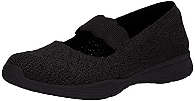 Skechers Women's Seager-Power Hitter-Engineered Knit Mary Jane Flat, Black, 5.5 M US