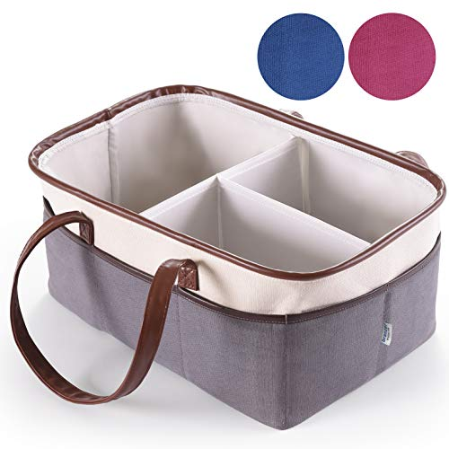 Baby Diaper Caddy Organizer by Oranzer (Grey) - Nursery Storage Bin for Baby Essentials and Portable Newborn Diaper Basket - Helps to Organize and Tote all Baby Items with Ease