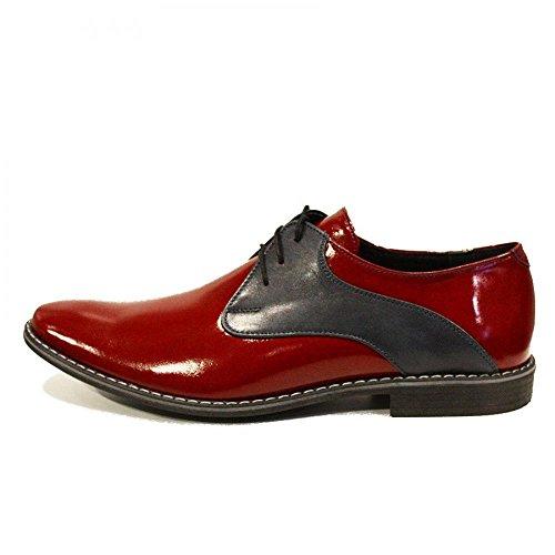 PeppeShoes Modello Otito - Handmade Italiano da Uomo in Pelle Rosso Scarpe da Sera - Vacchetta Pelle di Brevetto - Allacciare