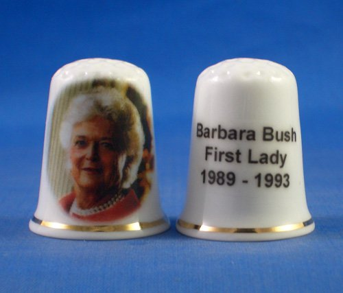 Porcelain China Collectable Thimble - First Lady Barbara Bush - Free Gift Box First Collectible
