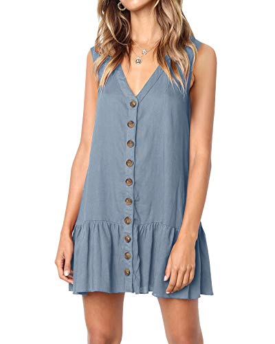 Casual Mini Dress - Imysty Womens Polka Dot V Neck Button Down Ruffles Loose Mini Short T-Shirt Dress (Small, Z2-Grey)