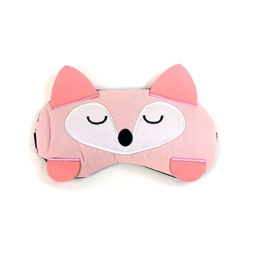 Linen Animal with Ears Sleeping Mask Sleep Shade Cooling Mask with Ice Pack 1pc (Pink Raccoon)