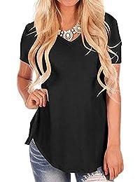 ZIOOER Women Casual Loose Short Sleeve V Neck T-Shirt Tunic Blouse Tops