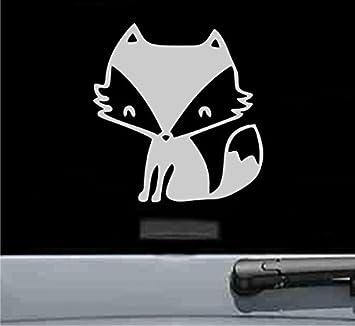 JS Artworks Cute Fox Vinyl Decal Sticker (Silver)