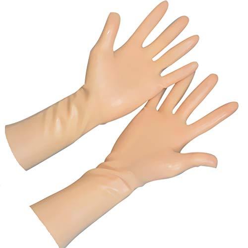 EXLATEX Rubber Secrets Short Latex Mixed Toes Wrist Gloves (M-Wrist around-17cm, - Latex Flesh