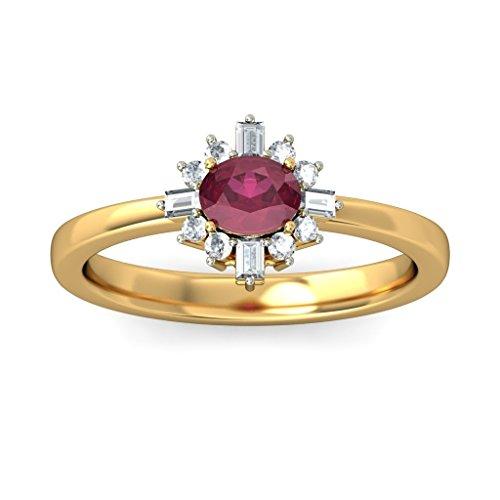 Or jaune 18K, 0.16carat Diamant Blanc (IJ | SI) Rubis et diamant Bague