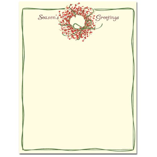 (Season's Greetings Wreath Holiday Letterhead)