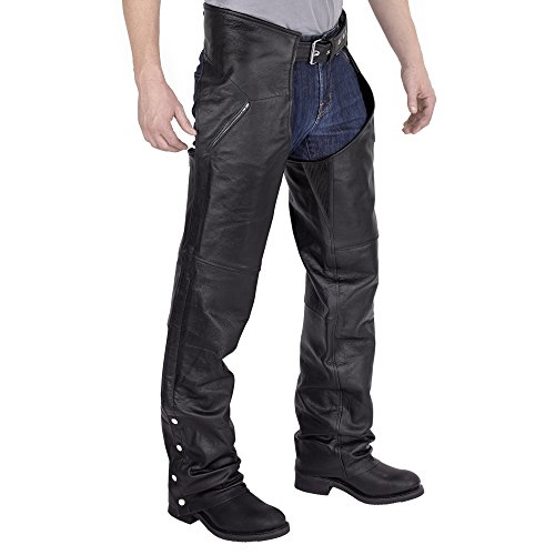 Nomad USA Deep Pocket Elastic Fit Motorcycle Leather Chaps (Large) by Nomad USA