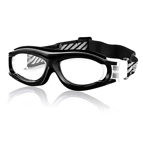 Kids Sports Glasses Anti-UV Shock-Proof Protective Glasses Safety Goggles w/Adjustable Strap for Basketball Football Hockey Rugby Baseball Soccer Volleyball and More Prescription (Black1) (Prescription Glasses Sports)