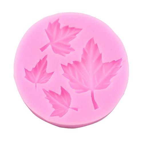 Biscuit Mosaic - Amazlife 4 Size 3D leaf Silicone DIY Cake Molud Chocolate Sugar craft Decorating Fondant soap Fimo Tool Gift (leaf)