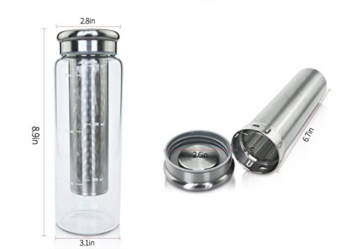 Cold Maker with Sleeve for Brewing Glass Outdoor Travel Deep Removable Stainless Steel Airtight Lid Water Bottle oz cup