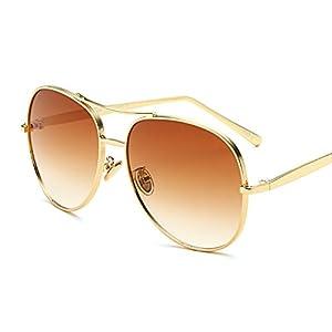 Freckles Mark Oversized Gold Metal Clear Men Women Aviator Sunglasses w/ Case (Gold/Brown, 61)