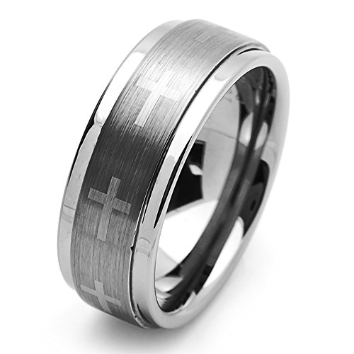 Double Accent 9MM Comfort Fit Tungsten Carbide Wedding Band Laser Engraved Cross Brushed Center Tungsten Ring (5 to 15), 8.5