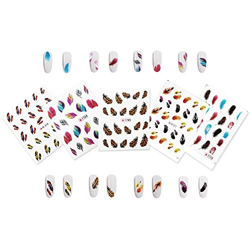 Beaute Galleria 5 Sheets Nail Art Water Slide Decals Transfer Stickers Tattoos Feather Acrylic Gel Nail Tips Decorations ( with instructions ) (Fingernail Tattoos)