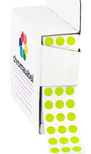 "1/4"" Chartreuse Green Color-Coding Dot Stickers, Permanent Adhesive, 0.25 in. - 1,000 Labels per Dispenser Box"