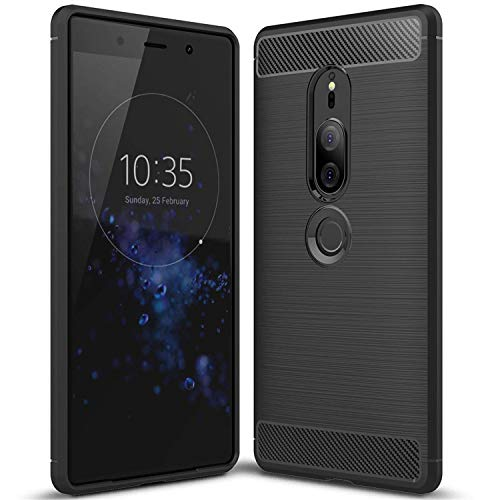 Landee Original Carbon Fiber Design Shock Absorption Air Cushion Technology Drop Protection Phone Case Cover for Sony Xperia xz2 Premium - ()