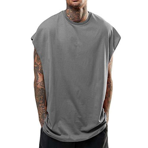 iHPH7 Vest for Men Tank Tops for Men Tank top Long Tank Tops Vest Sleeveless Shirts for Men Sleeveless Compression Shirts for Men Sleeveless t Shirt XL Gray ()