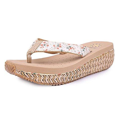 Grace Scarpe Tacco a Zeppa di Vibrazione delle Donne Flop Sandali di Svago Più Colori tra cui Scegliere, 9560 Beige, 35