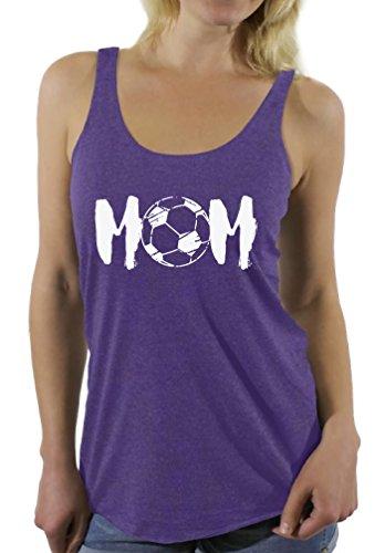Awkward Styles Women's Soccer MOM Motherhood Graphic Racerback Tank Tops White Sport Mom Gift Idea Purple 2XL