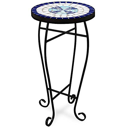 Mosaiktisch Neptun Tisch Blumenständer Blau - Beistelltisch Balkontisch Blumenhocker Blumen