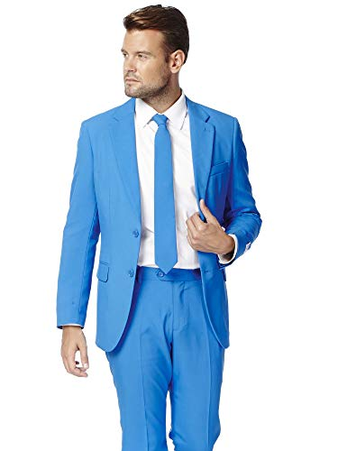 Opposuits Blue Steel Solid Blue Suit For Men Coming With Pants, Jacket and Tie, Blue Steel, US50