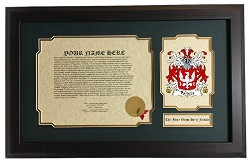 Palazzi - Coat of Arms and Last Name History, 14x22 Inches Matted and ()