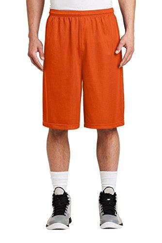 Sport-Tek Men's Extra Long PosiCharge Classic Mesh Short M Deep Orange