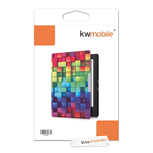 kwmobile Case Compatible with Kobo Aura H2O Edition 1 - PU e-Reader Cover - Rainbow Cubes Multicolor/Green/Blue