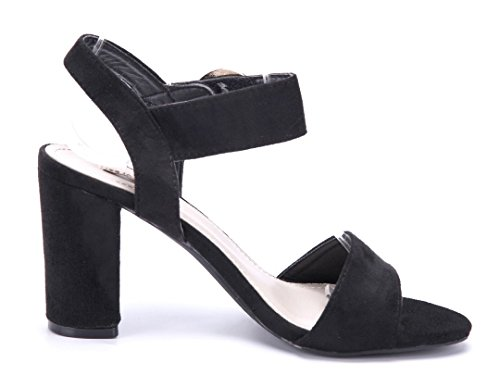 Schuhtempel24 Damen Schuhe Sandaletten Sandalen Blockabsatz 9 cm Schwarz