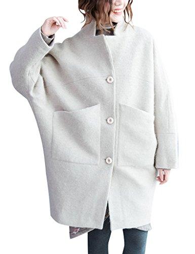 Youlee Mujer Collar del soporte Capa de lana Batwing Abrigo de un solo pecho Beige