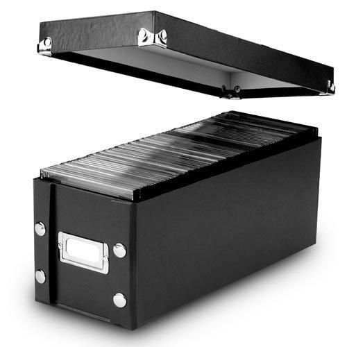 "CD Storage Box, 30 CD Capacity, 5-1/8""W x 13-1/4""D x 5-1/8""H, 2 Per Pack, 3 Packs Per Carton, Black"