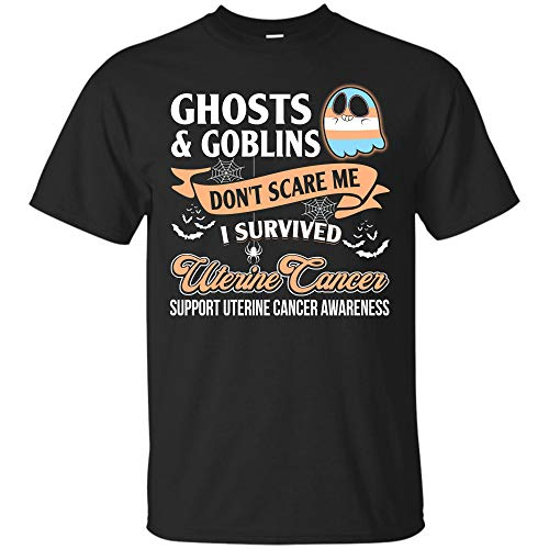 Teescircle Uterine Cancer Halloween Costumes T-Shirt Don't Scare Me Mom-Women Survivor Gift (Unisex T-Shirt;Black;2XL) ()