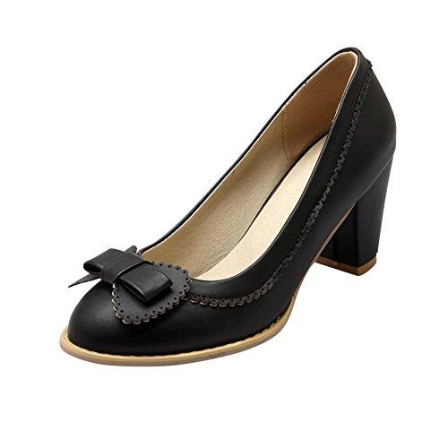 MissSaSa Damen süß Schleife Pumps mit Blockabsatz bequem Chunky heel runde Spitze Kleidschuhe Schwarz