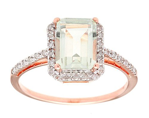 Instagems 10k Rose Gold Emerald-Cut Green Amethyst and Diamond Halo Ring