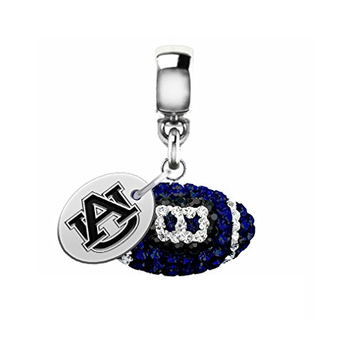 Auburn University Tigers Crystal Football Drop Charm Fits All European Style Bracelets