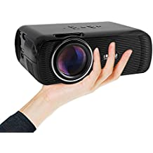 """Updated Mini LED Projector, 1080p HD LCD Home Cinema Theater, Full Color 130"""" Image for Multimedia Entertainment, Optical Keystone, HDMI/VGA/USB/AV/TV for Video, Movie, Games Night - Black"""