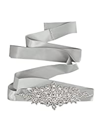 Bridal Wedding Dress Belt Sash Crystal Rhinestone Sparkle Ribbon Tie 5 Colors - Grey