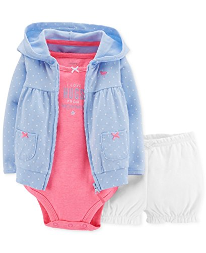 Carter's Baby Girls' 3-piece Cardigan & Bubble Short Set Blue (3 Months)