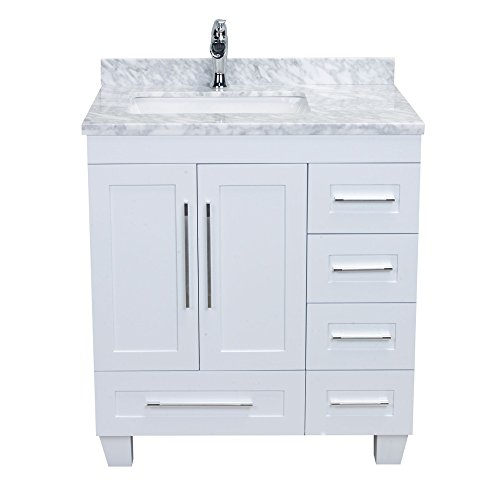 Eviva EVVN999-30WH Loon 30 inch Long Handles (Acclaim Edition) Transitional White Bathroom Vanity with Carrera Marble Counter-Top (Caroline Counter)