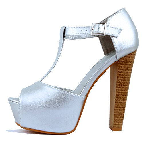Guilty Heart Womens Peep Toe High Heel Stiletto T-Strap Platform Sexy Sandals Heeled Sandals, Silver PU, 10 B(M) (High Heel T-strap Pumps)