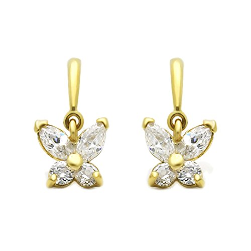 14K Yellow Gold Marquise Cut Cubic Zirconia Set Butterfly Dangle Screwback Stud Earrings (Stud Marquise Cubic Zirconia)
